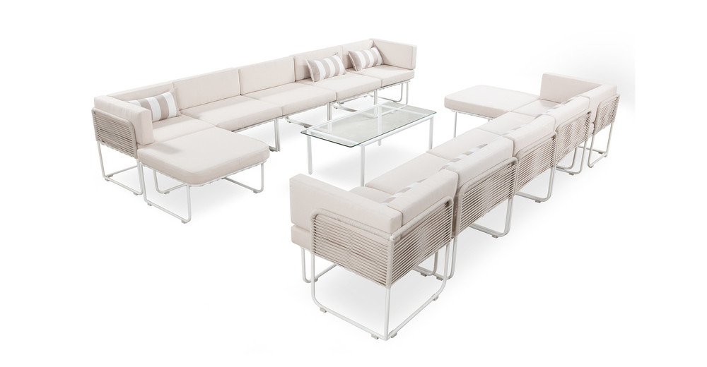 Curbed Outdoor Solstice 13-pc set, Cream/White