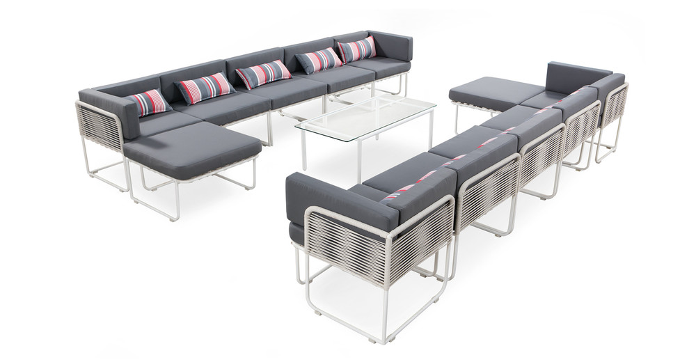 Curbed Outdoor Solstice 13-pc set, Grey/White
