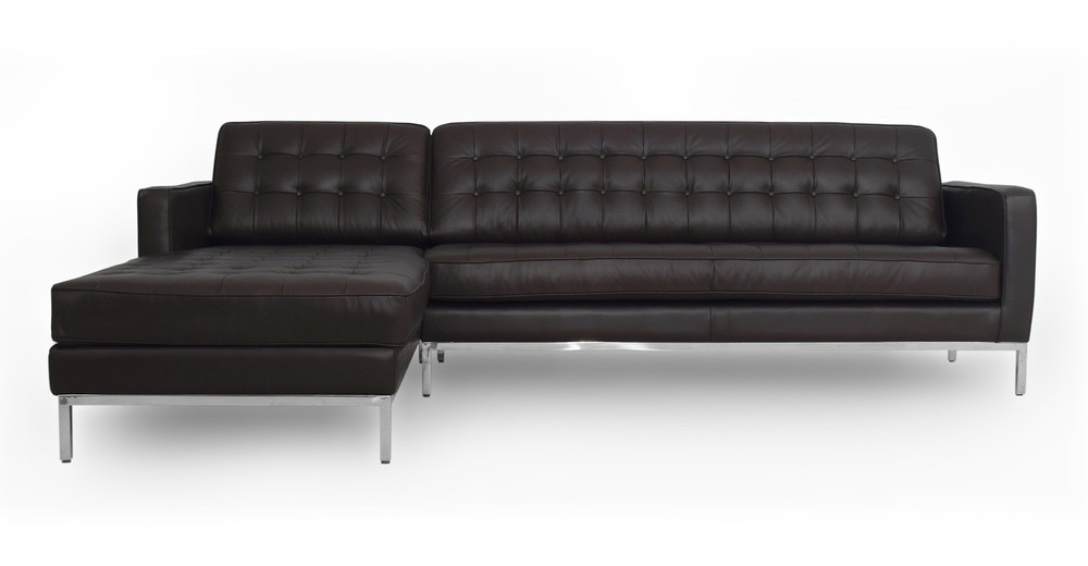 "Florence 101"" Leather Left Sectional, Brown Top Grain"