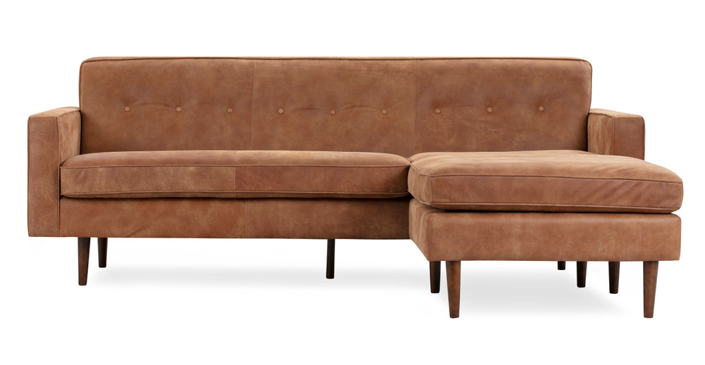 "Eleanor 85"" Leather Sofa Sectional Right, Cognac Full Aniline"