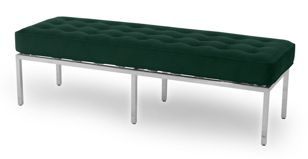 """Florence 59"""" Fabric Bench, Forest Velvet"""