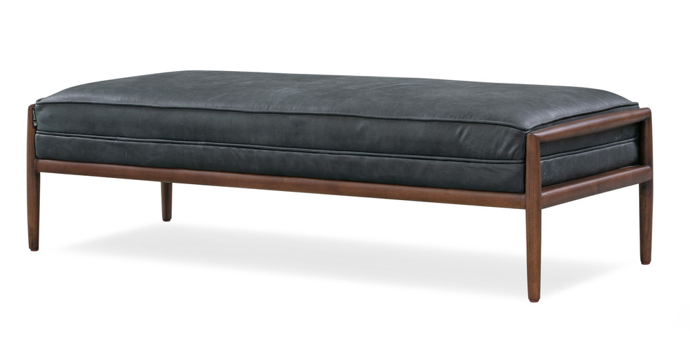 """Fritz 55"""" Leather Bench, Black Top Grain Full Aniline Leather"""