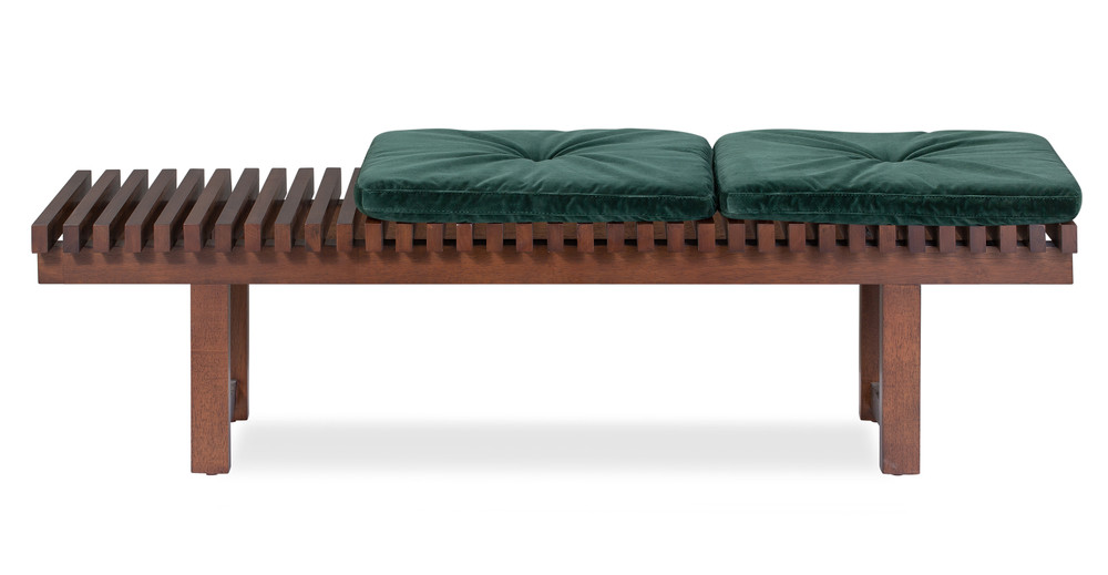 "Slat 42"" Fabric Bench, Emerald Velvet"