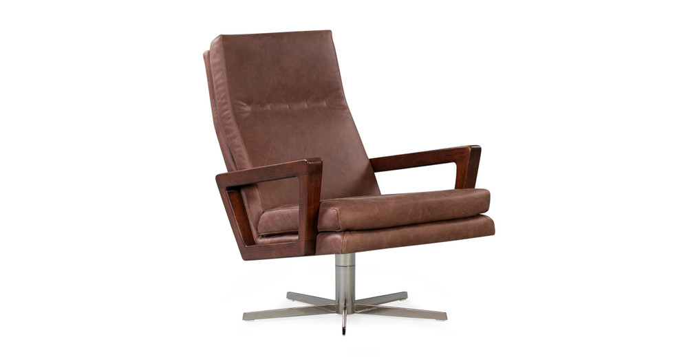 "Winston Swivel 30"" Leather Chair, Mocha Top Grain Full Aniline"