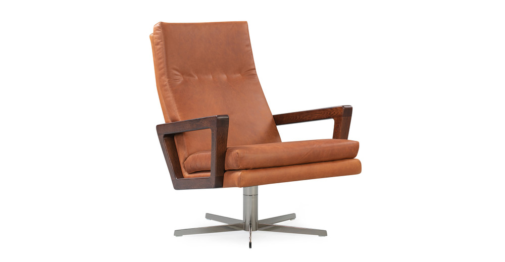 "Winston Swivel 30"" Leather Chair, Cigar Top Grain Full Aniline"