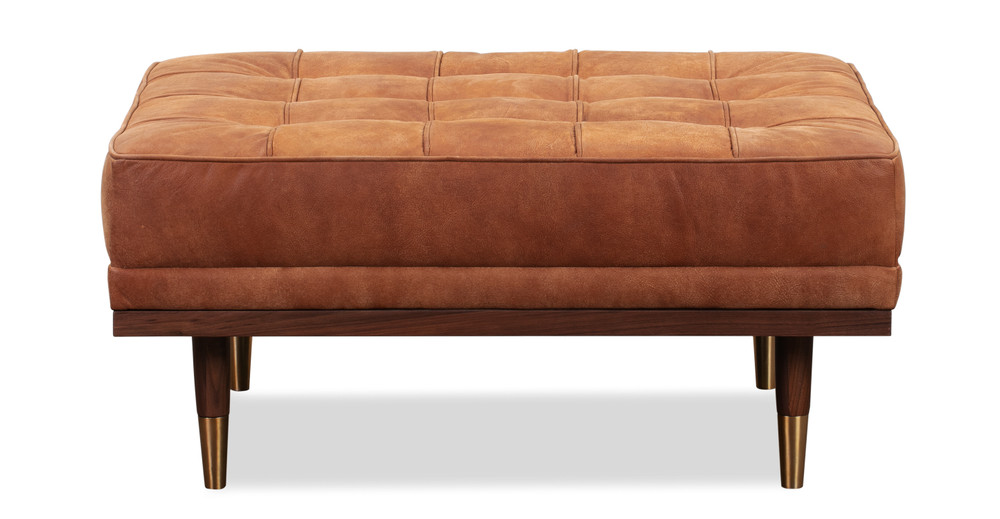 Woodrow Box Ottoman, Walnut/Cognac Full Grain Aniline