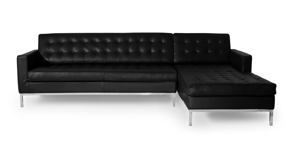 """Florence 101"""" Leather Right Sectional, Black Premium Leather"""