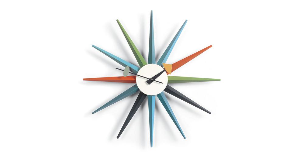 George Nelson Sunburst Clock, Multi-color Rays