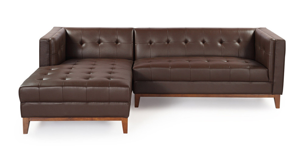 Wondrous Harrison Chaise Sectional Left Bolivarian Brown Premium Leather Creativecarmelina Interior Chair Design Creativecarmelinacom