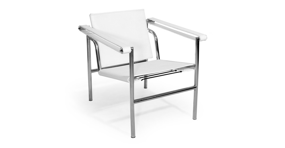 Basculant Sling Chair, White Leather