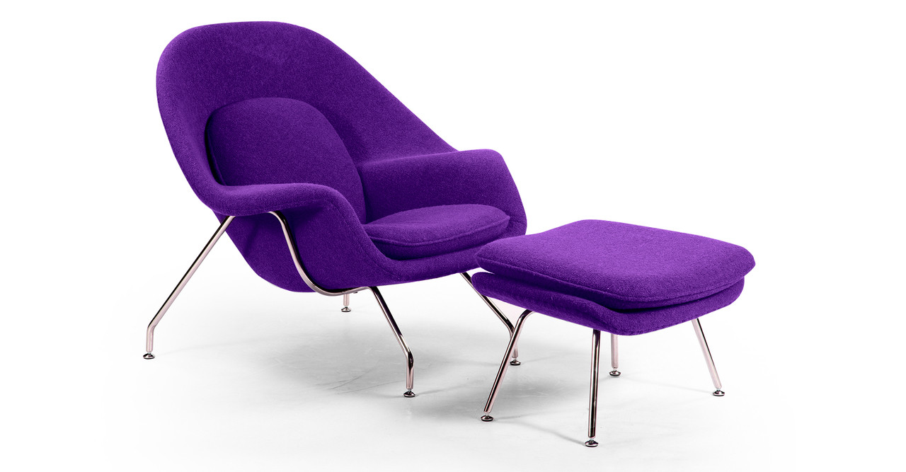 Womb chair ottoman purple kardiel