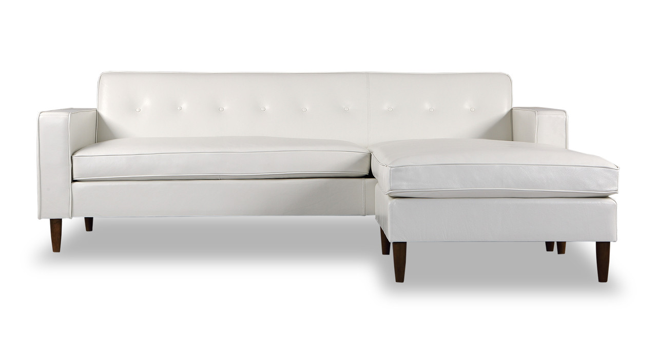 Eleanor Sofa Sectional-Right Chaise, White Aniline Leather - Kardiel