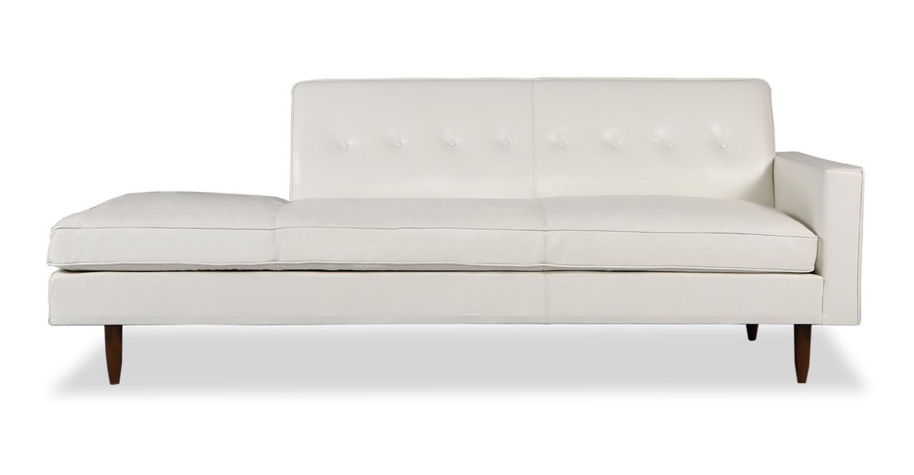 Eleanor Right 87 Leather Sofa White Top Aniline Kardiel