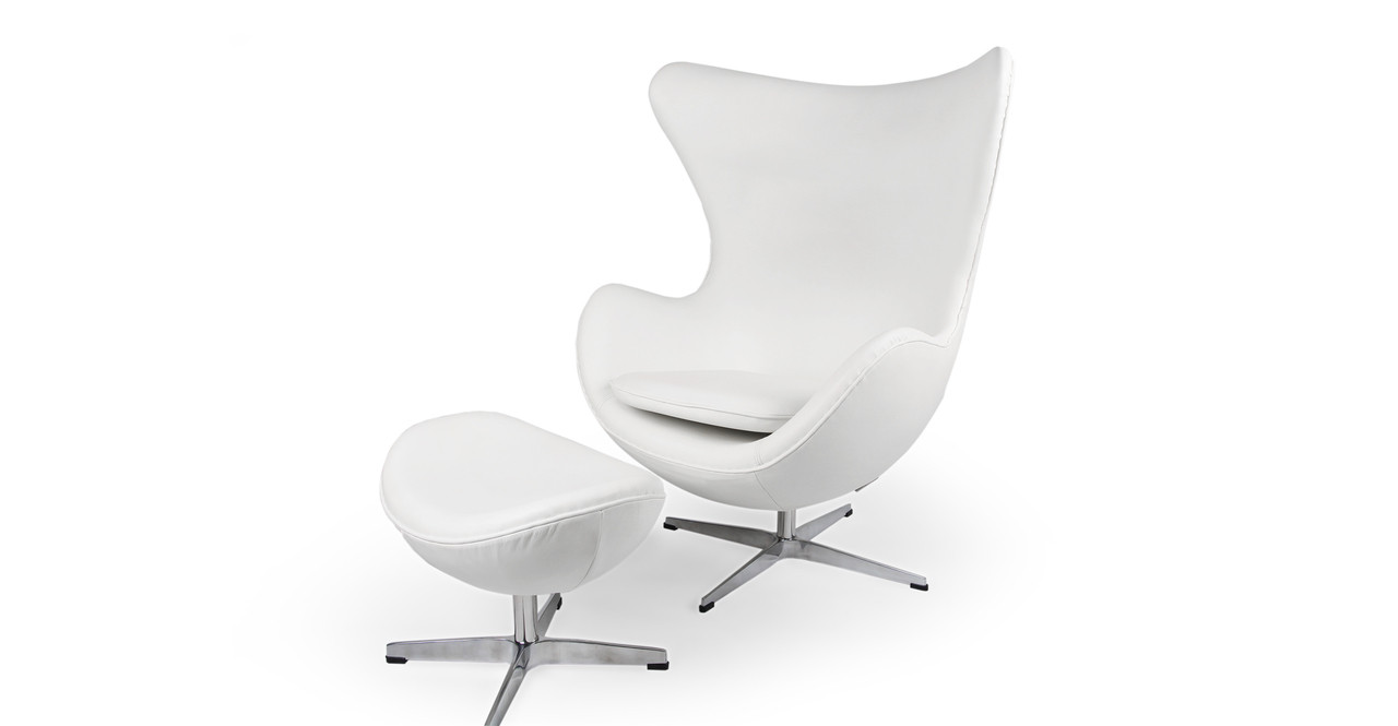 Amoeba Chair Ottoman Ecume White Premium Leather Kardiel