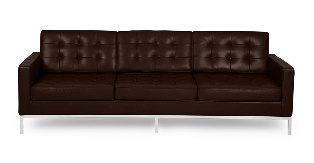 Modern leather couch Italian Leather Kardiel Florence Knoll Mid Century Modern Leather Sofas By Kardiel