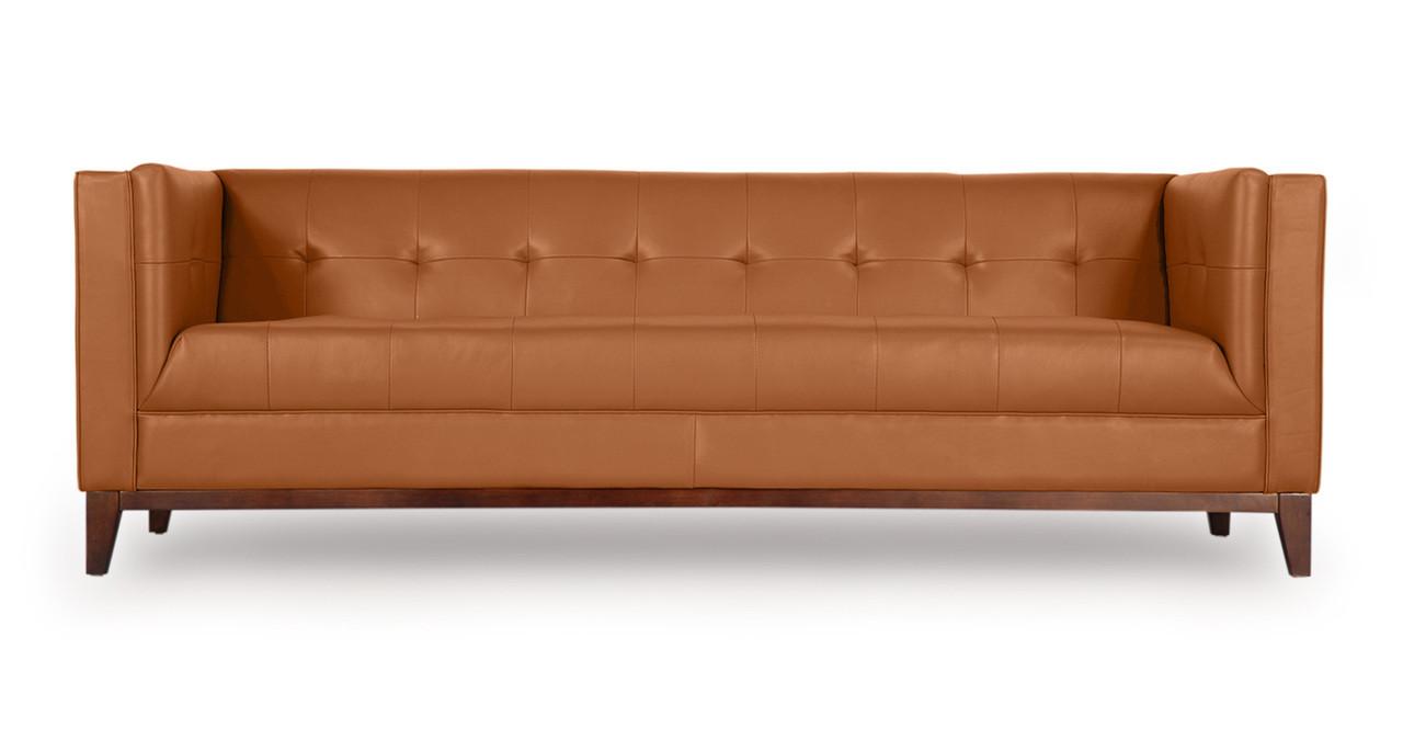 Harrison Sofa, Saddle Brown Premium Leather - Kardiel