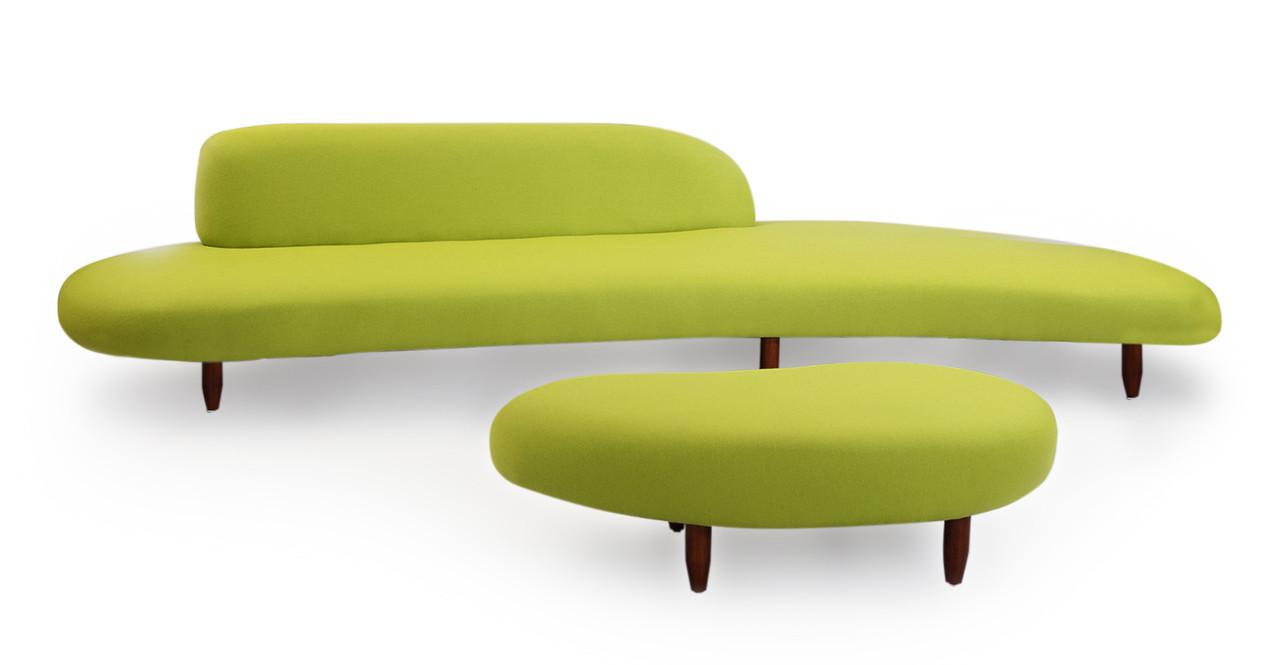 Kidney Bean Sofa Ottoman Lime Green Kardiel