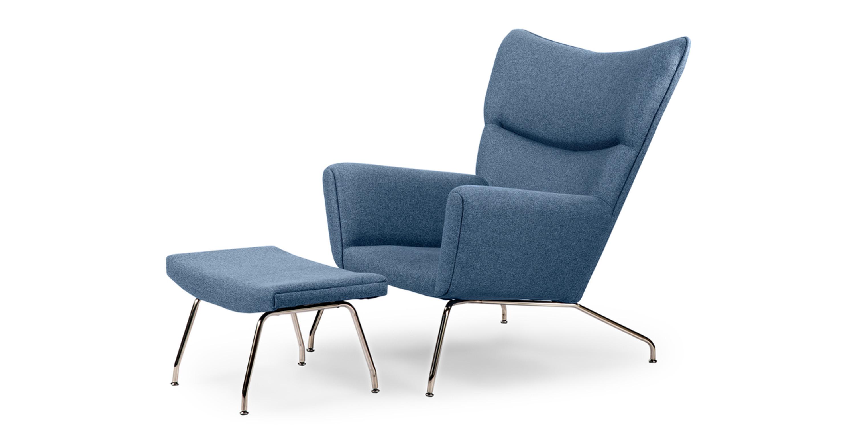 Magnificent Wegner Wing Chair Ottoman Azure Machost Co Dining Chair Design Ideas Machostcouk