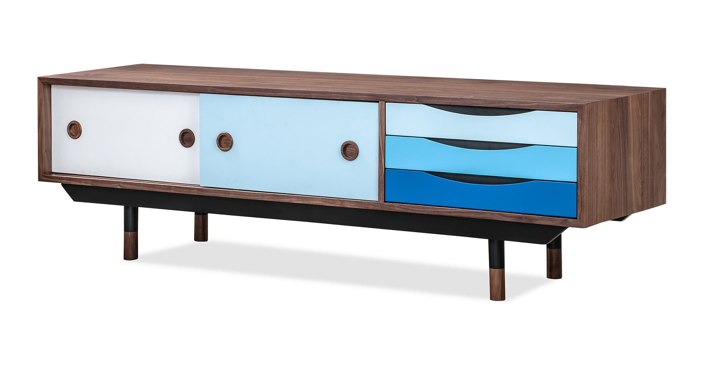 Color Theory 63 Media Cabinet Walnut Blue Kardiel