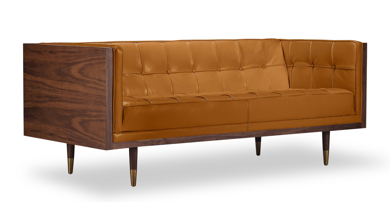 Contemporary Woodrow Box Sofa Tan Anline Kardiel