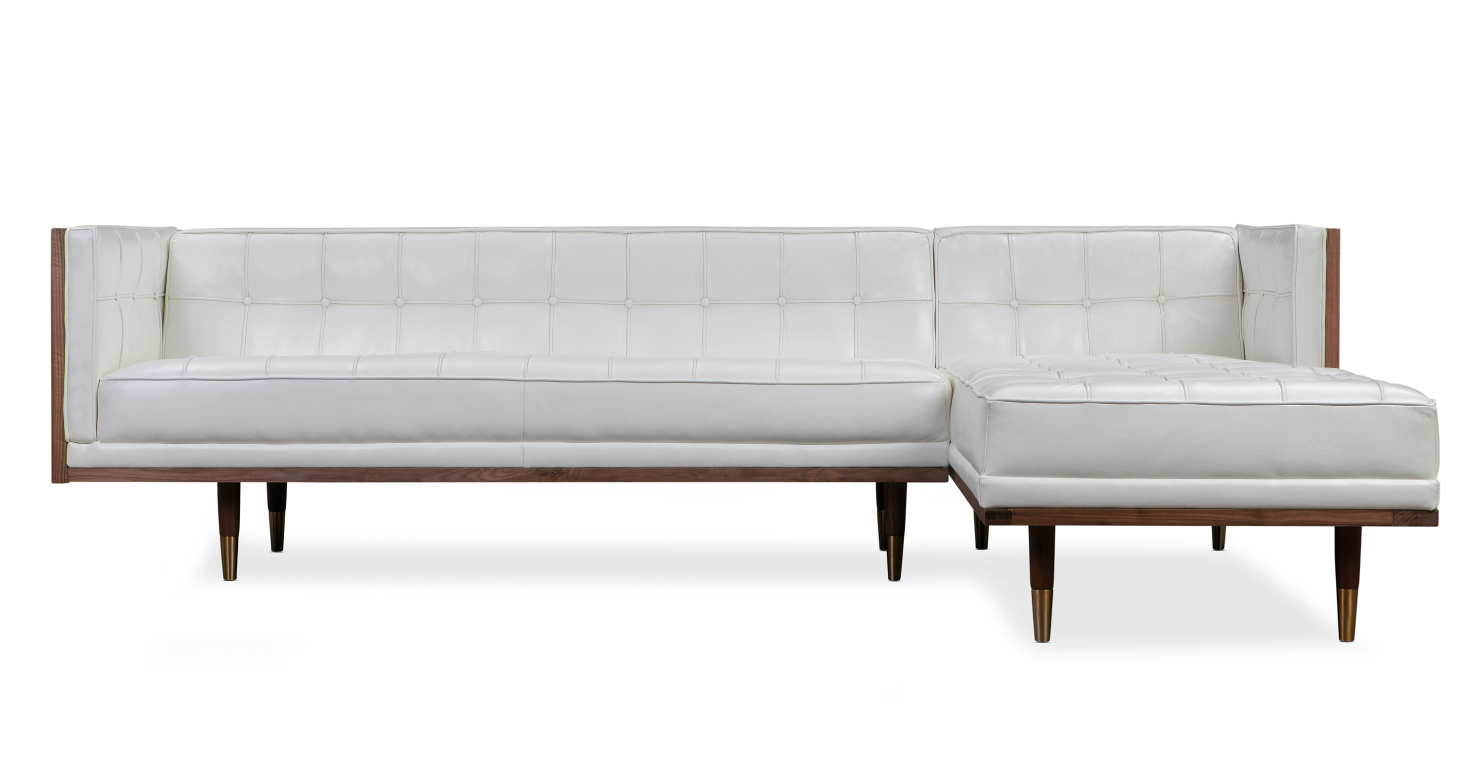 Woodrow Box Sofa Sectional Right, Walnut/White Aniline