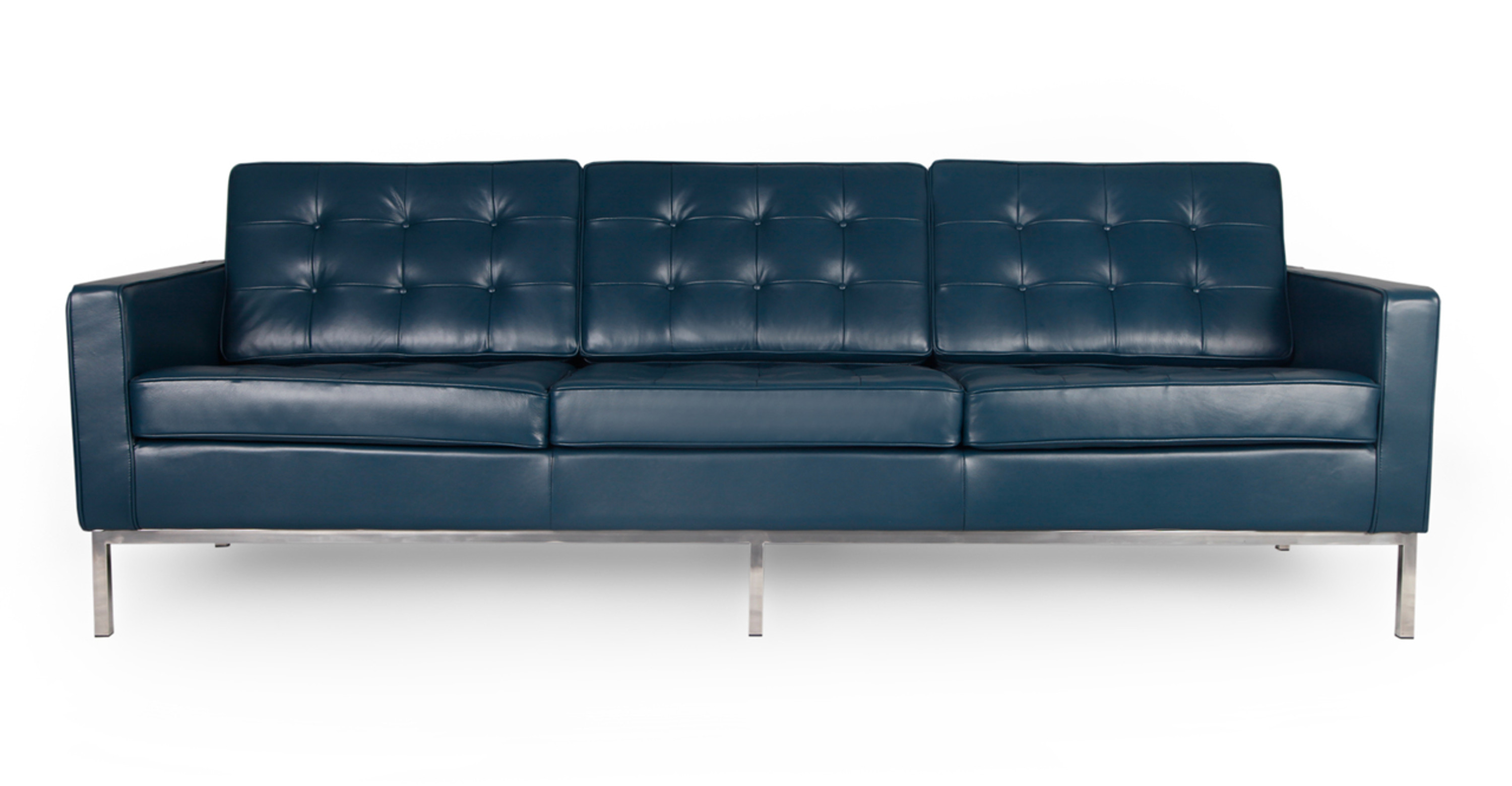 Florence Sofa, Blue Premium Leather