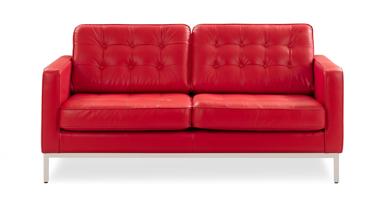 Florence 62 Leather Sofa Red Top Grain Semi Aniline