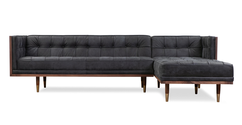 Cool Woodrow Box Sofa Sectional Right Walnut Night Full Grain Aniline Beatyapartments Chair Design Images Beatyapartmentscom