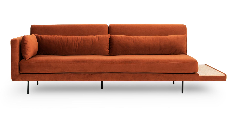- Davenport Mid-Century Modern Daybed (Rust Velvet) Kardiel