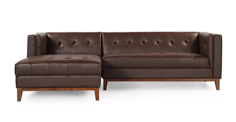 Terrific Harrison Chaise Sectional Left Bolivarian Brown Premium Leather Creativecarmelina Interior Chair Design Creativecarmelinacom