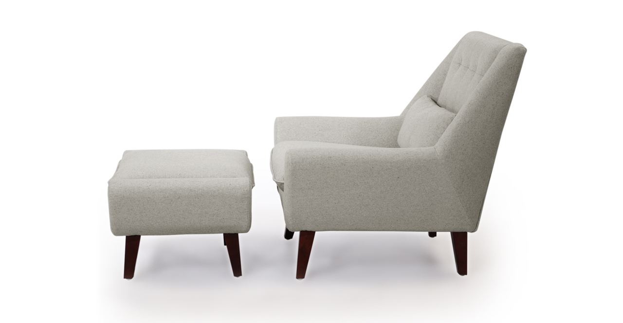 Stuart Chair & Ottoman, Heather