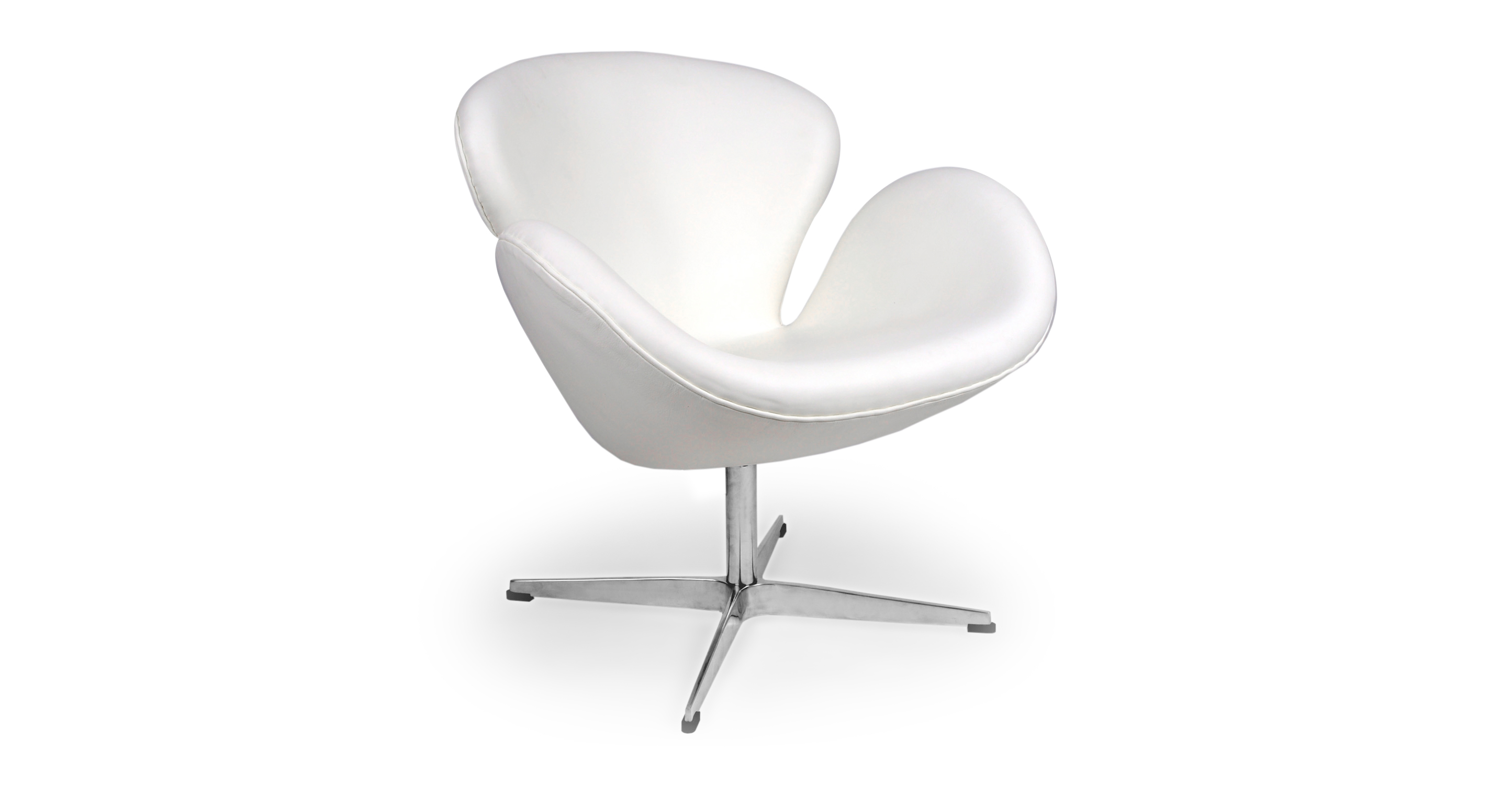"Trumpeter 28"" Swivel Leather Chair, Ecume White"