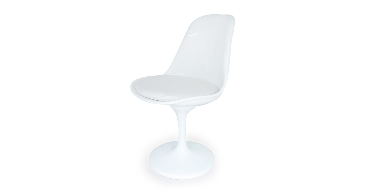 Tulip Side Chair, White Wool