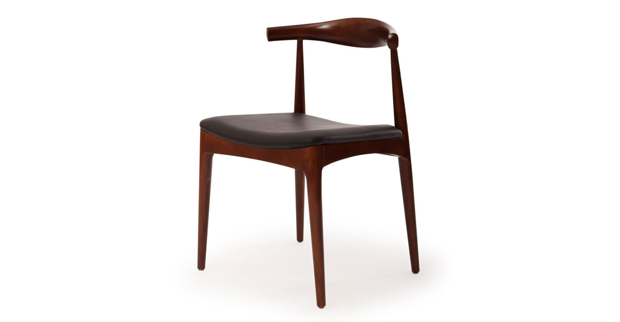 Wegner Elbow Chair, Black Leather/Ash in Walnut Stain