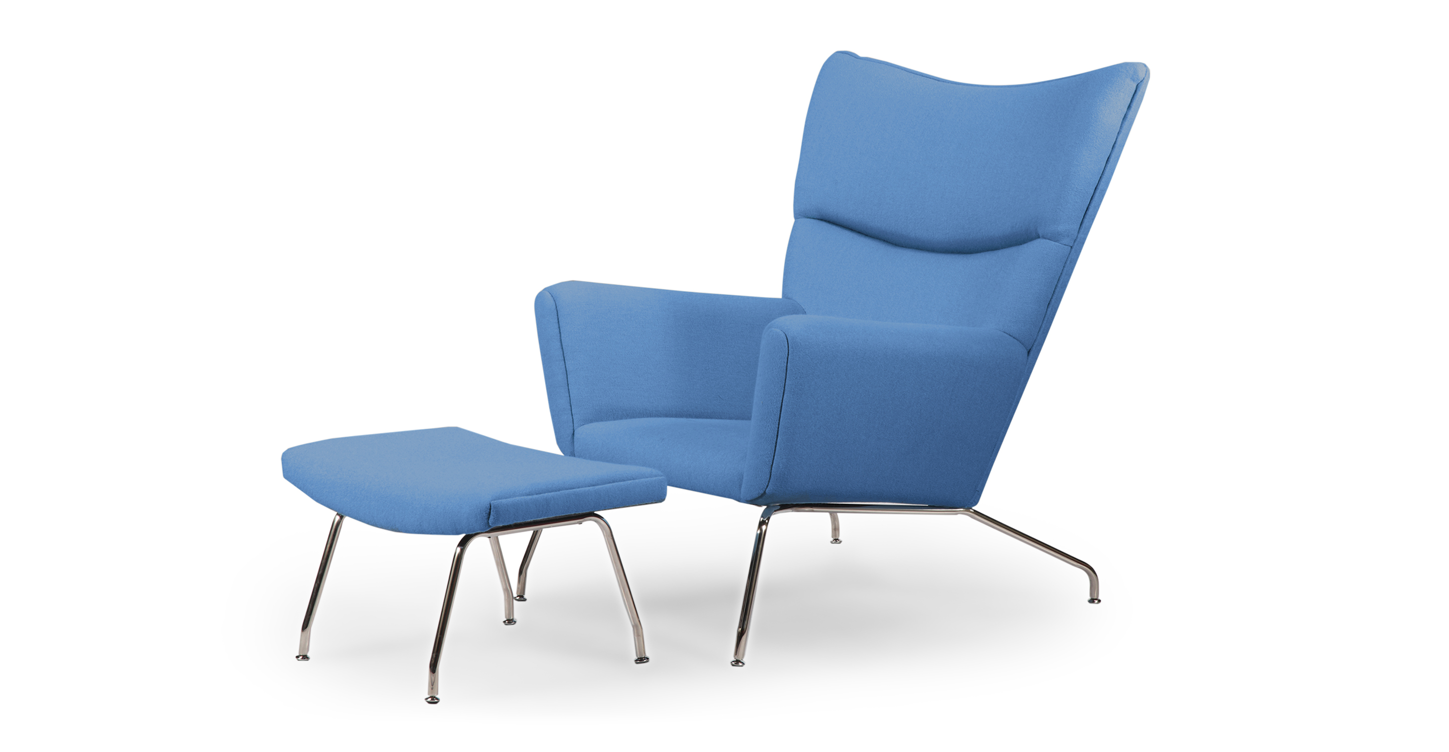 Wegner Wing Chair & Ottoman, Baby Blue
