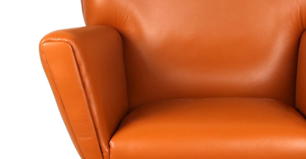 Wegner Wing Chair & Ottoman, Caramel Premium Leather