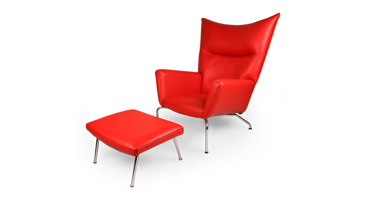 Wegner Wing Chair & Ottoman, Red Premium Leather