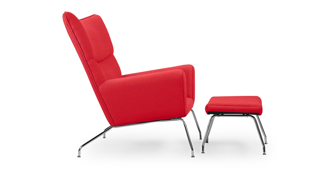 Wegner Wing Chair & Ottoman, Red