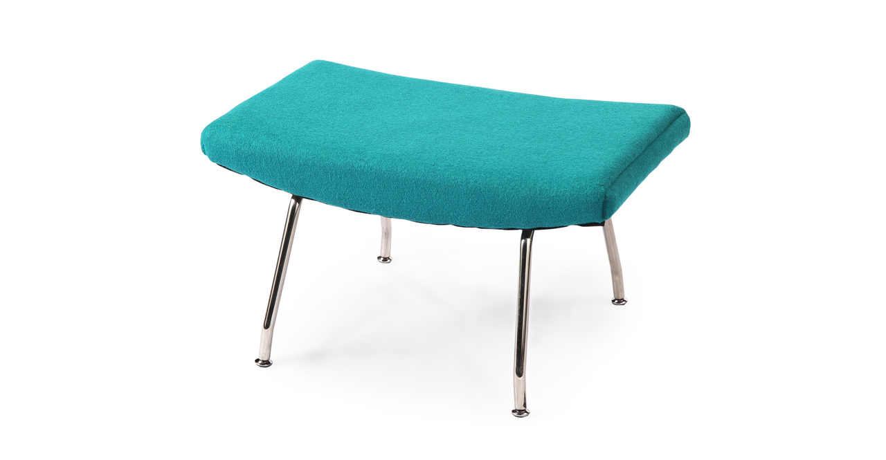 Wegner Wing Chair & Ottoman, Turquoise