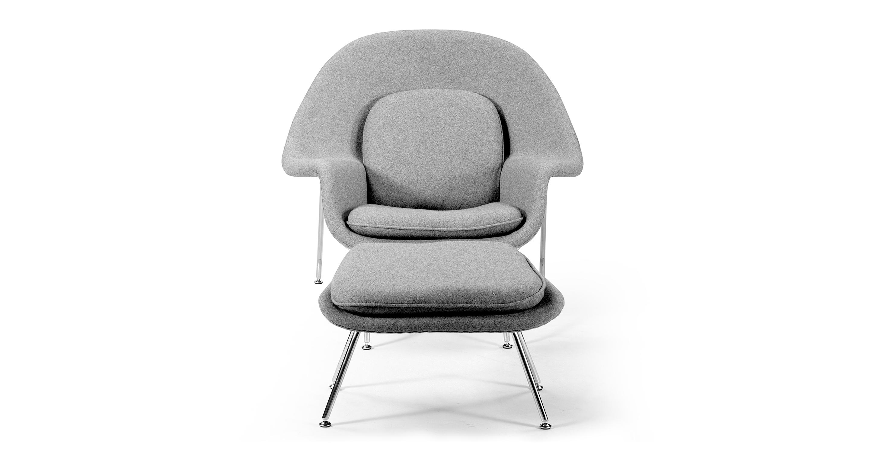 Womb Chair & Ottoman, Cadet Grey