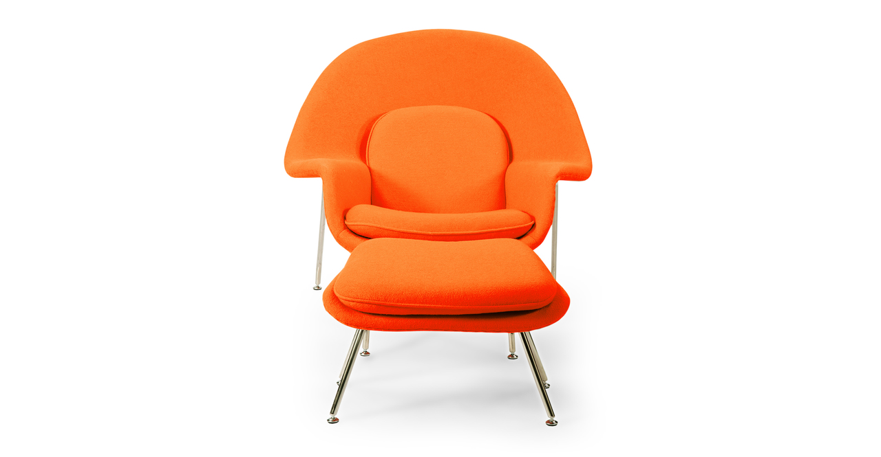 Womb Chair & Ottoman, Orange
