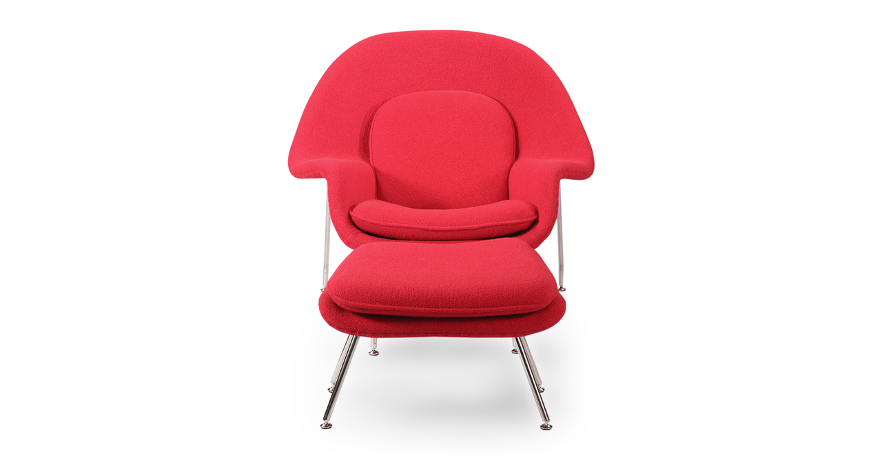 Womb Fabric Chair & Ottoman, Cherry Red
