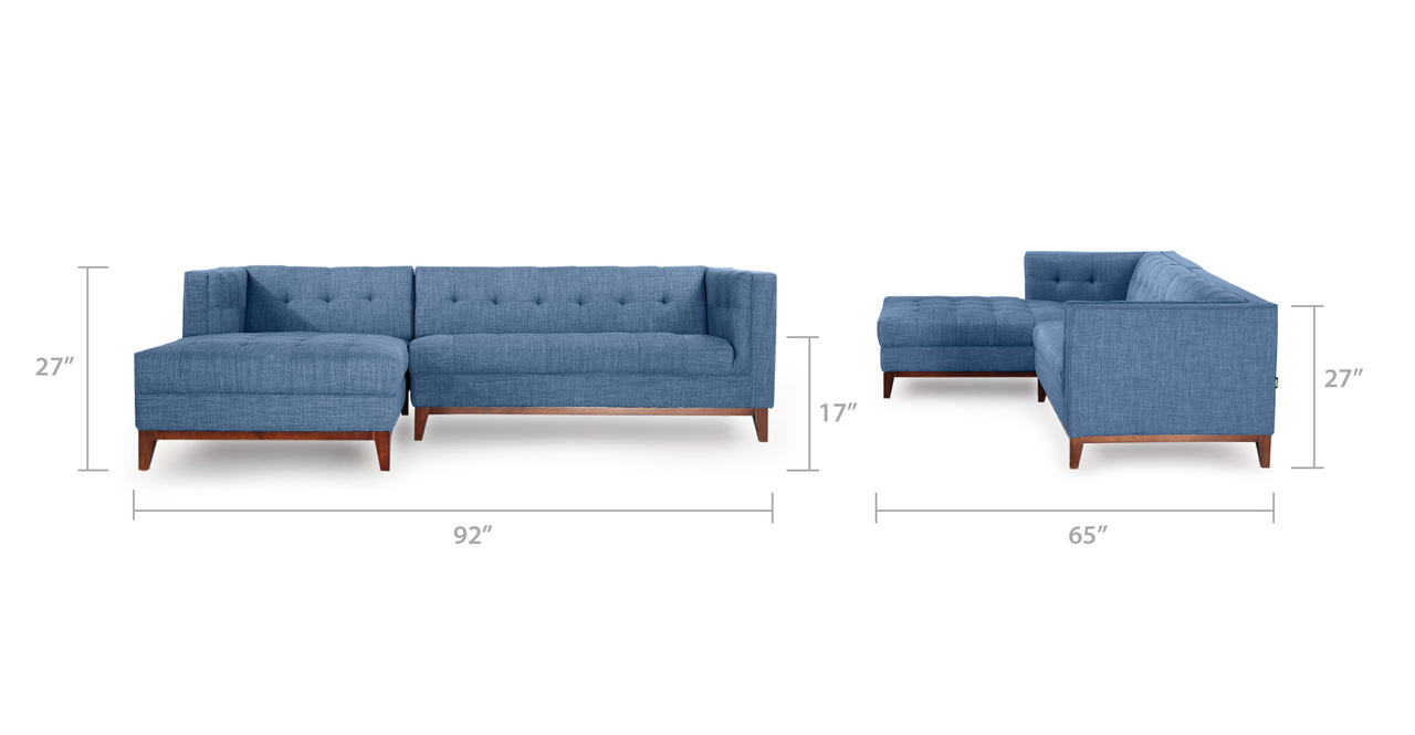 Harrison Chaise Sectional-Left Face, Blue Curacao