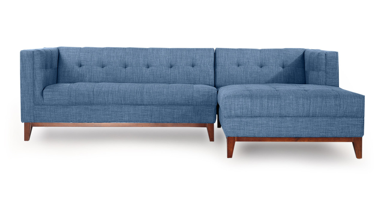 Harrison Chaise Sectional-Right Face, Blue Curacao - Kardiel