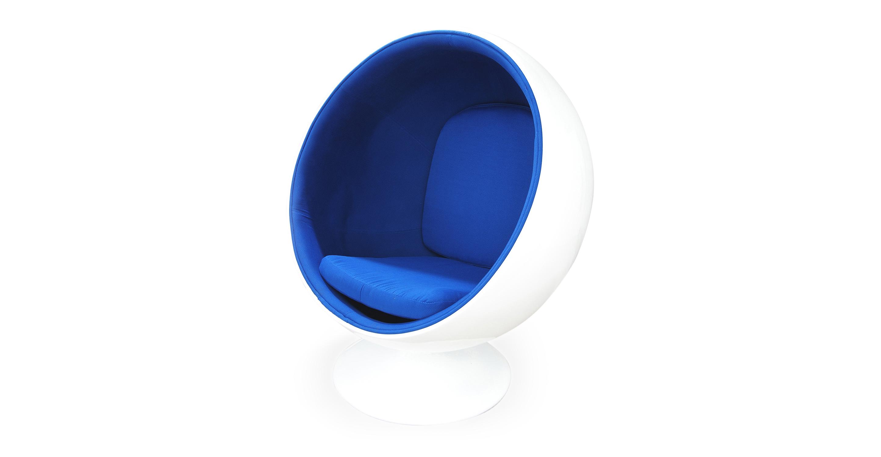 Ball Fabric Chair, White/Blue Microfiber
