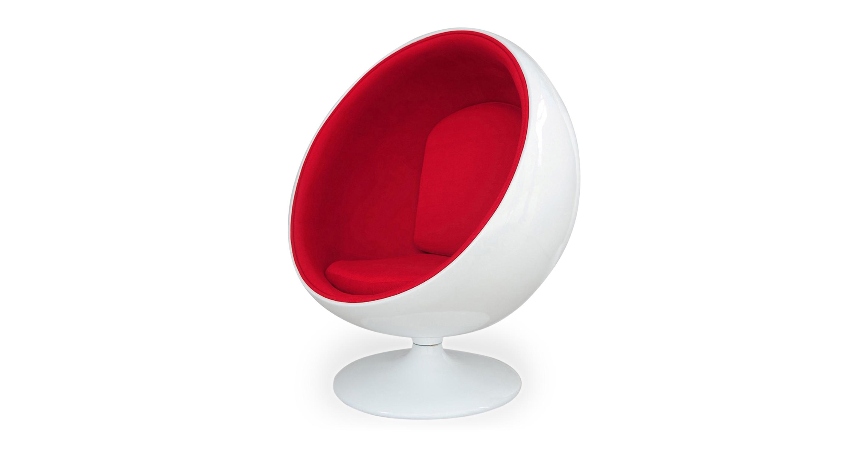 Ball Fabric Chair, White/Red Microfiber
