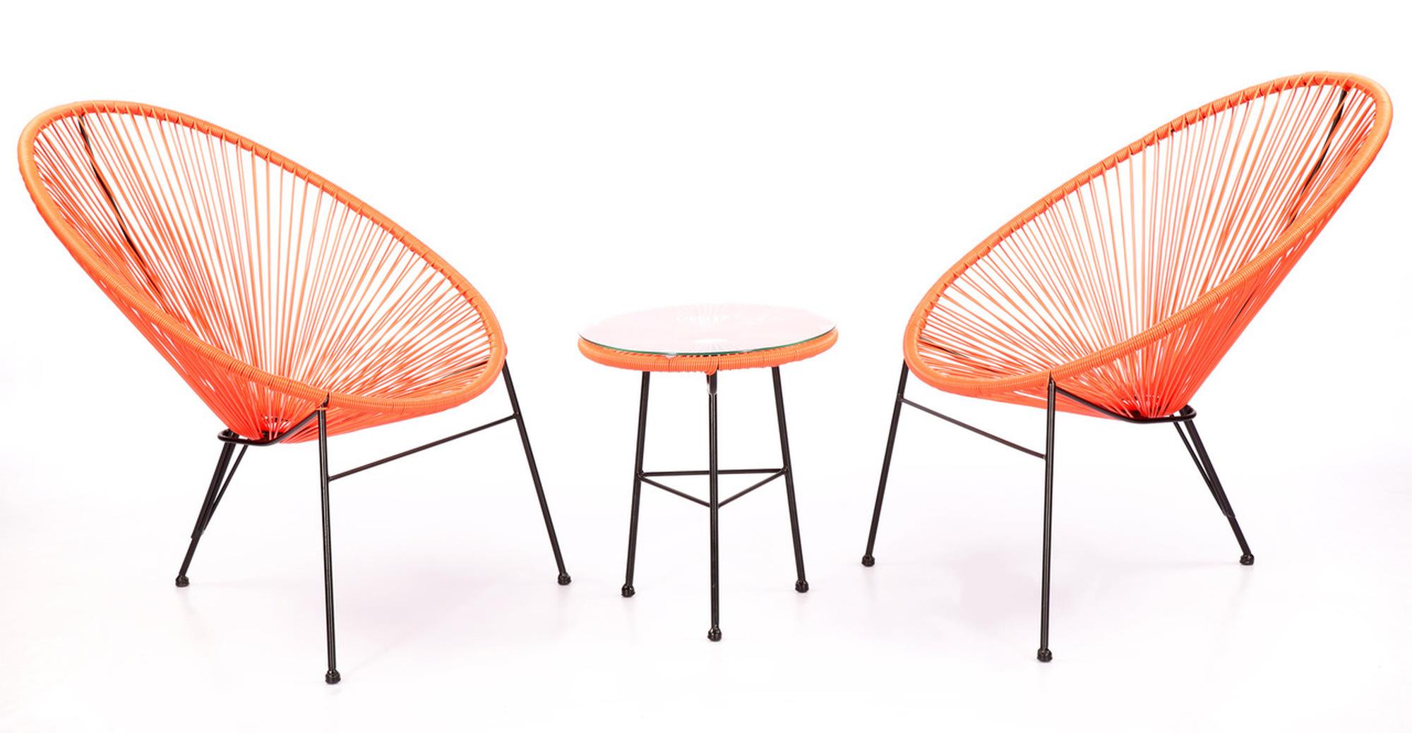 Acapulco Chairs & Table, Orange