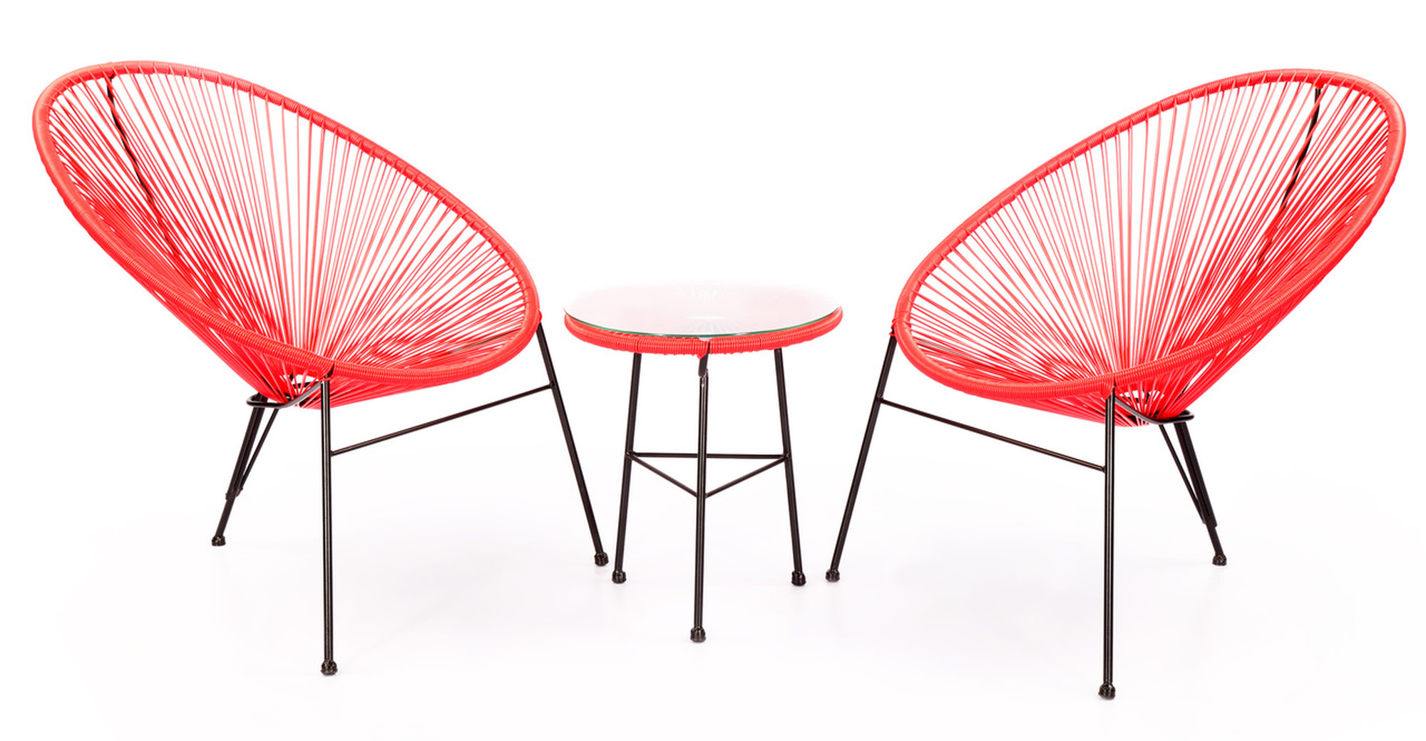 Acapulco Chairs & Table, Red