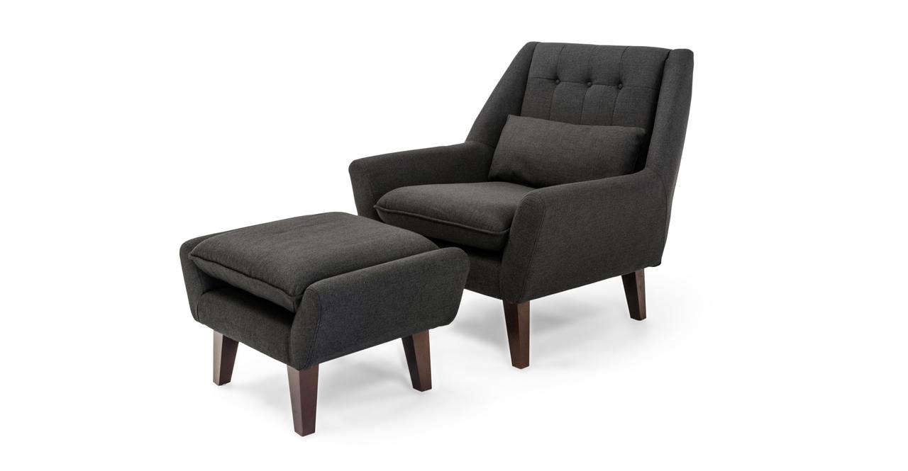 Stuart Chair & Ottoman, Chevron Grey