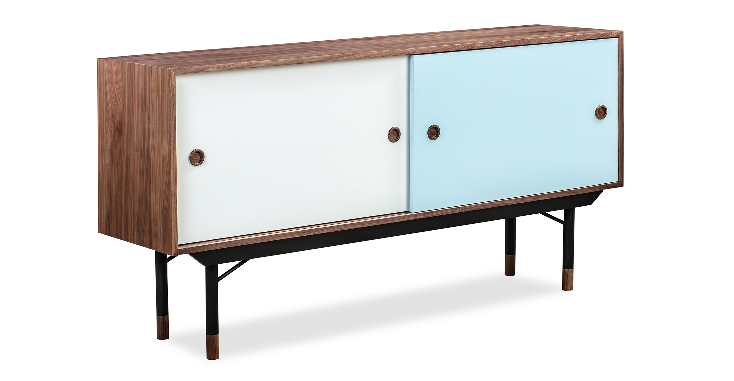"Color Theory 69"" Sideboard, Walnut/Blue"